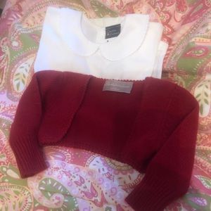 Italian baby knitted cardigan and collared onesie